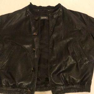 Bally large black Leather heavy jacket